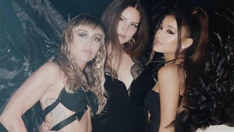 "Lana Del Rey, Ariana Grande, & Miley Cyrus in ""Don't Call Me Angel"" Music Video BTS"