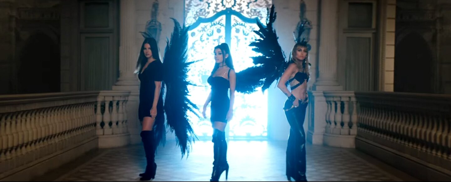 "Lana Del Rey, Ariana Grande, & Miley Cyrus in ""Don't Call Me Angel"" Music Video / Courtesy of Youtube"
