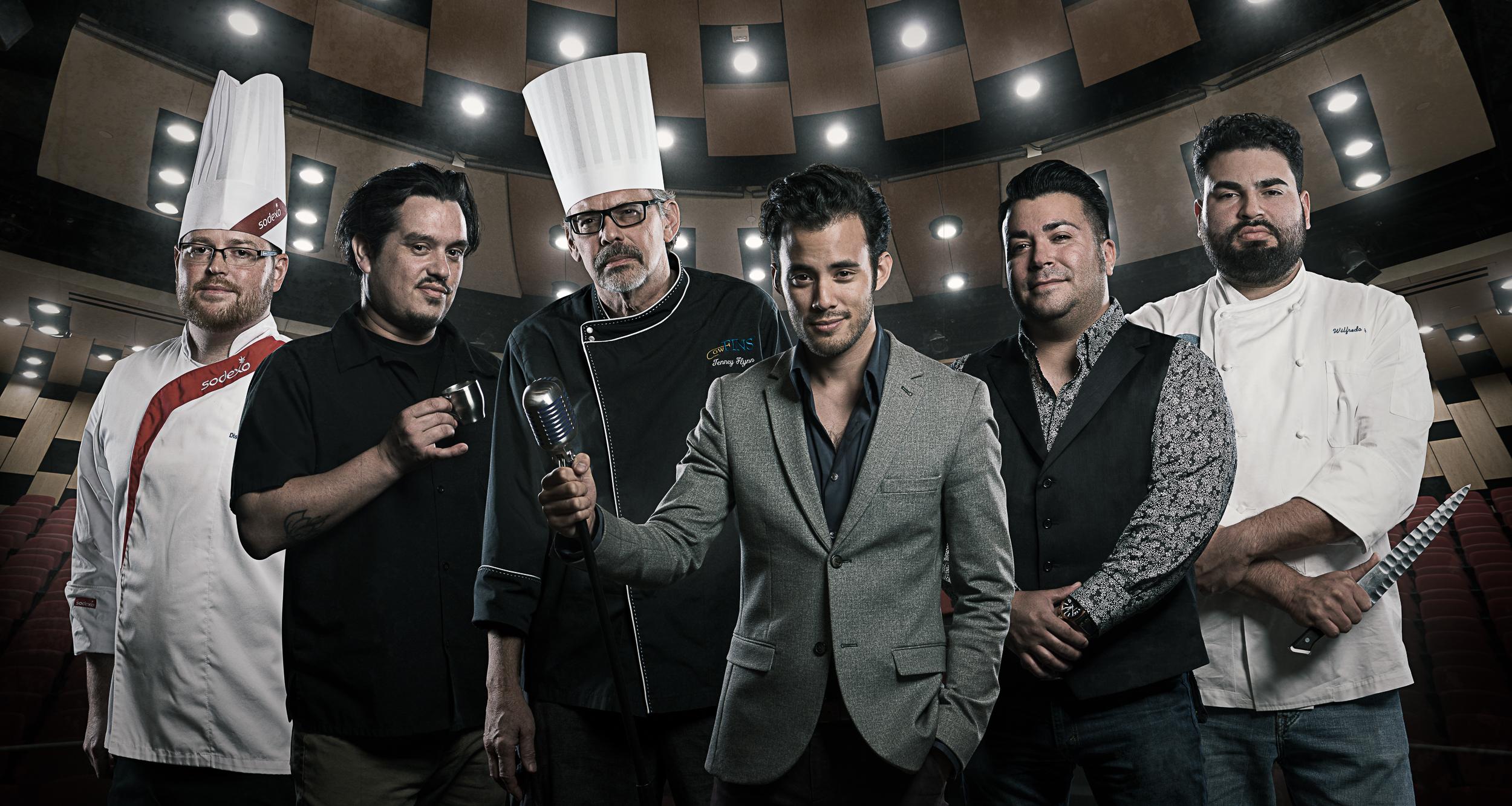 (From Left to Right) Chef Travis Johnson, Chef Octavio Ycaza, Chef Tenney Flynn, Creative Director David Castillo, Chef Phillip Lopez, & Chef Will Avelar.  Photo Credit: Matthew & Becky Noel