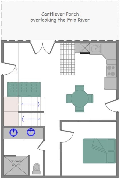 Guadalupe Cabin Main Floor