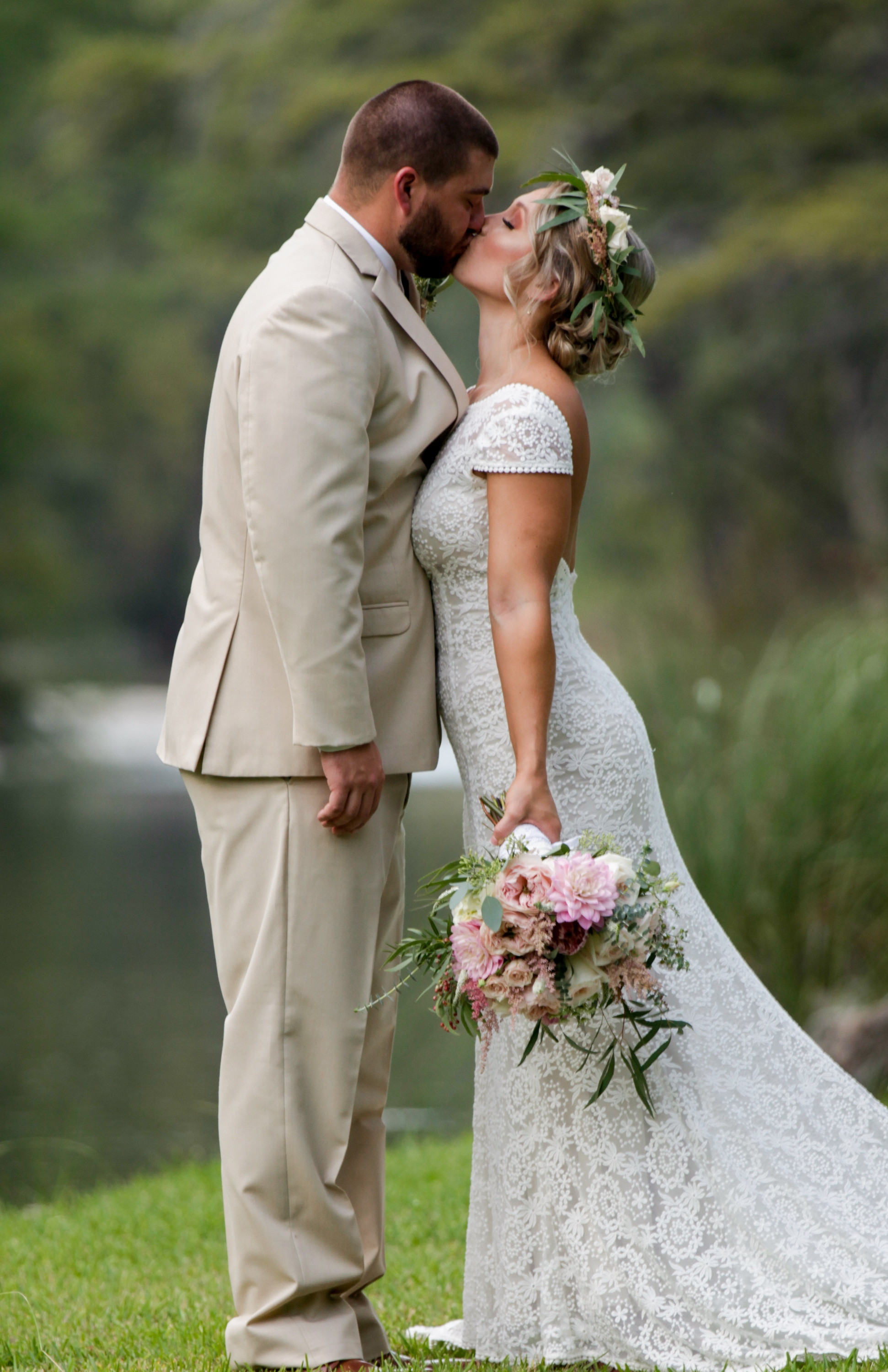 First (Newlywed) Kiss on the Frio