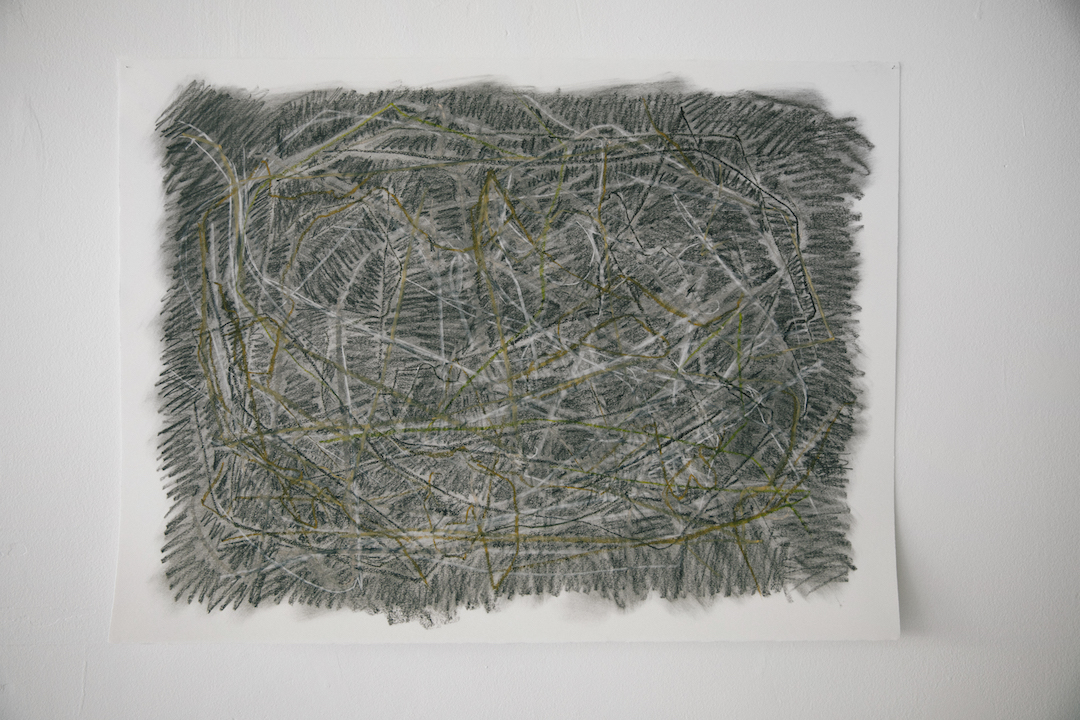 Annerose Georgeson.  Bagged Hay . 2017. Graphite, charcoal, conté, oil pastel and chalk on paper. Photo by Denis Gutiérrez-Ogrinc.