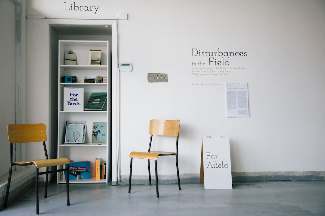 Disturbances in the Field . 2017. Library display and exhibition entrance. Photo by Denis Gutiérrez-Ogrinc.