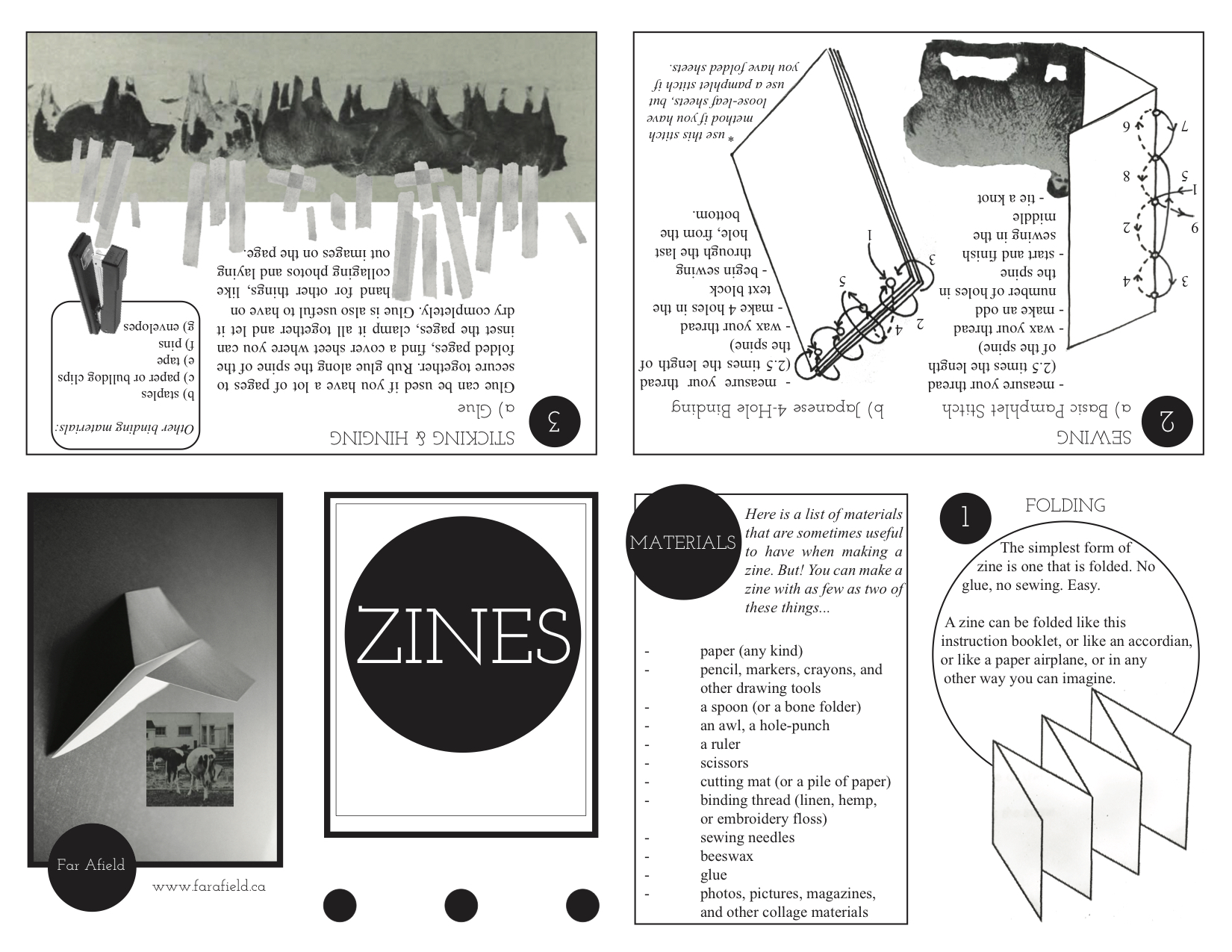 Download the  Zine making instructions here , and learn how to fold the instructional zine  here . Try them out, make your own, and send them in to be included in the Far Afield Library.