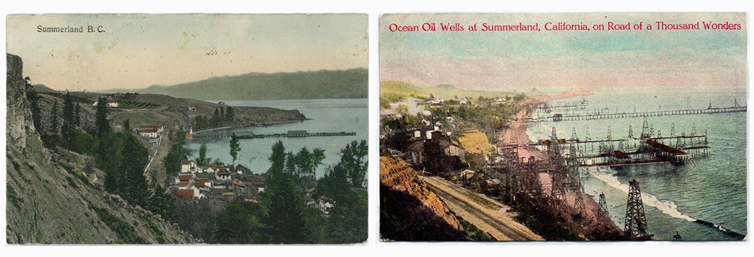 [Left] Summerland, BC. c. 1908. Courtesy of the Summerland Museum and Archives Society, Summerland, BC. [Right] Ocean Wells at Summerland, California, on a Road of a Thousand Wonders. c. 1910. Image found on eBay.