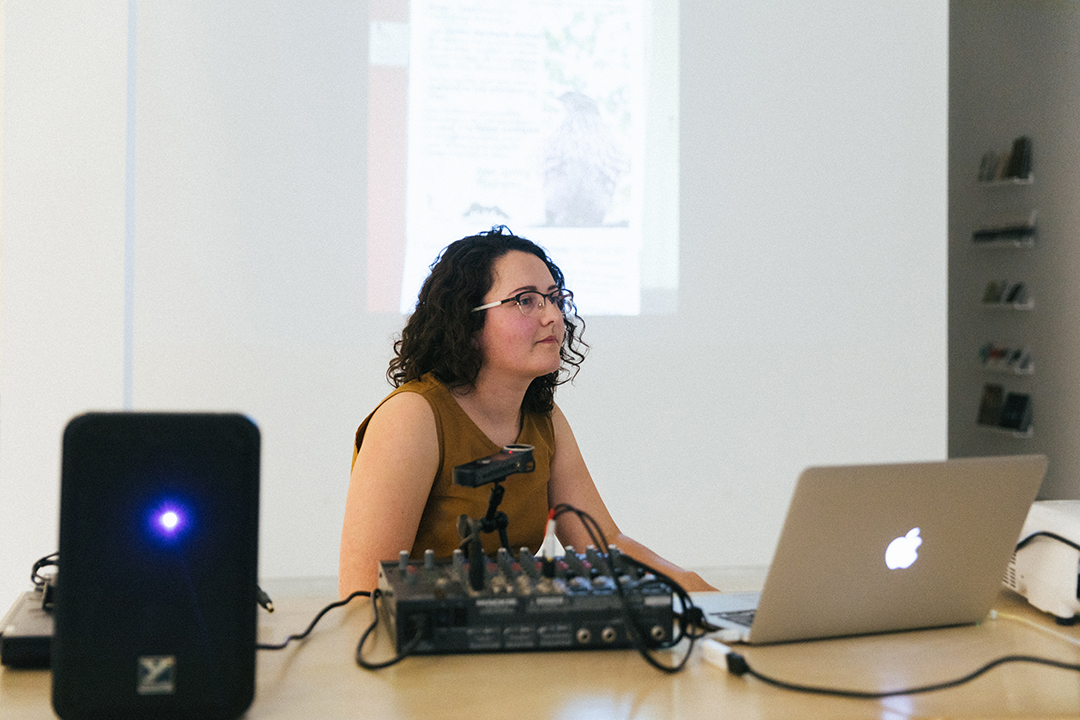 """Laurie White presenting a talk, """"Polyphonic Assemblage: A Musical Toolkit for Ecological Perception."""" June 17, 2019."""