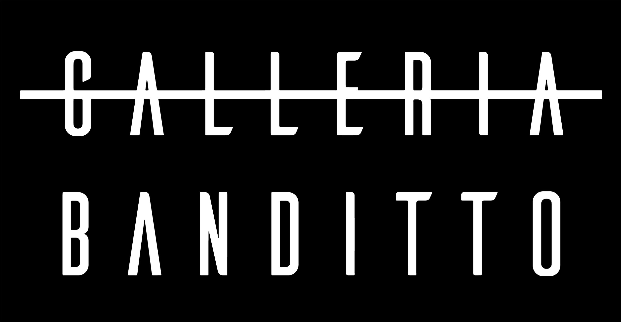 Logo Design, Art Direction and Branding for Bandito Art Gallery    A bold and ballsy visual was required to appeal to the demographic of counterculture artists and collectors worldwide.  By changing the spelling of Bandito to Banditto ('ban' meaning 'to prohibit the use, performance, or distribution of' and 'ditto' meaning 'the same thing again') the name was connected with the mission - to do the unthinkable, the unimaginable - to think beyond the norms, to bend the rules of the art world in favour of artists.  The word 'galleria' is crossed out to emphasise the rebellious nature of the brand.