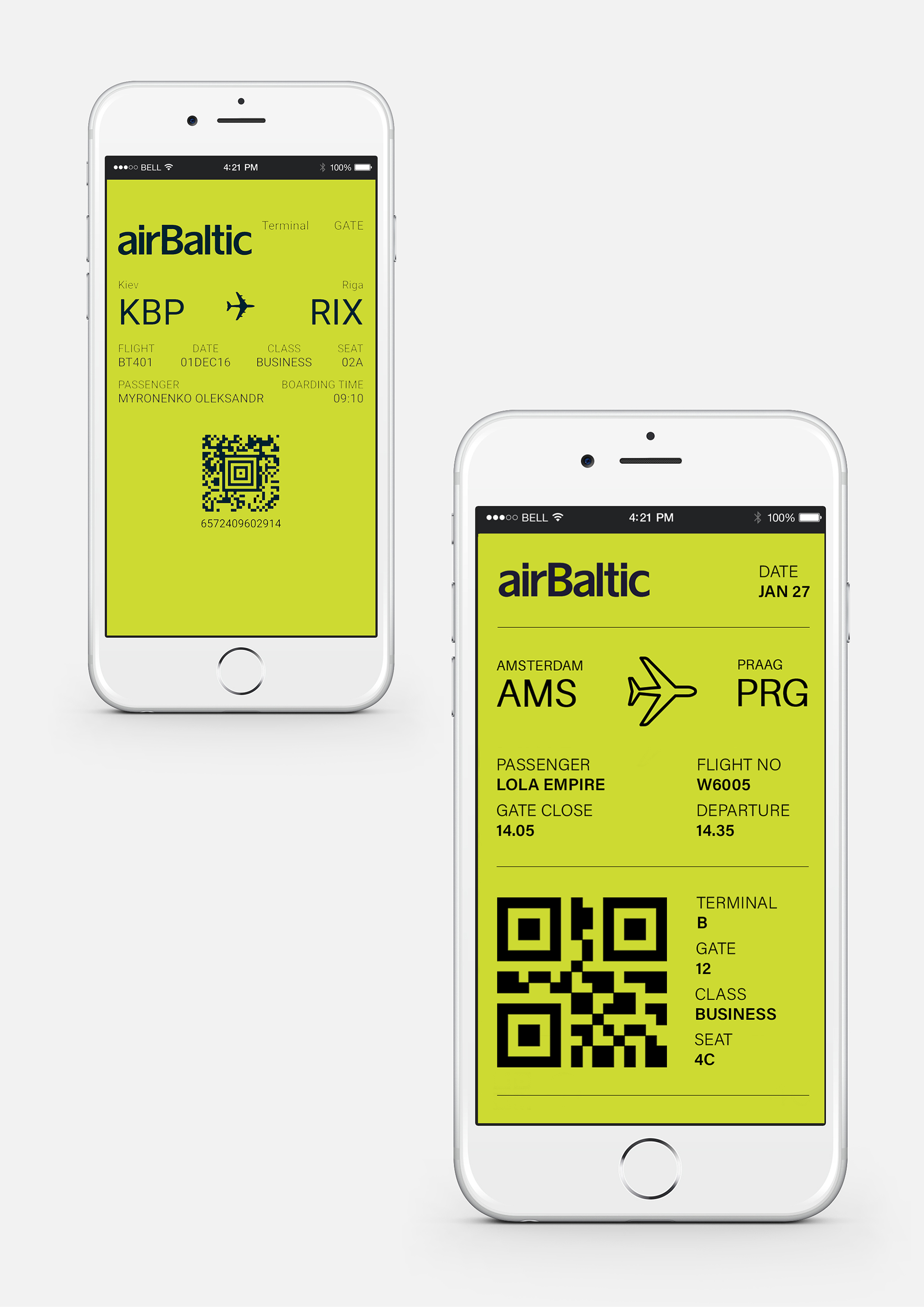 Ticket Redesign for Air Baltic implementing IA (information architecture), UI (user interface) and UX (user experience) principles   The original e-ticket had no sense of structure, the elements were placed randomly with no regard for usability.  On the redesigned version the information hierarchy is well-defined and easy to follow. Starting with the very first thing you need to know about your journey (the date) to the very last (your seat), the information is also broken down into two parts: before your arrival at the airport and after.