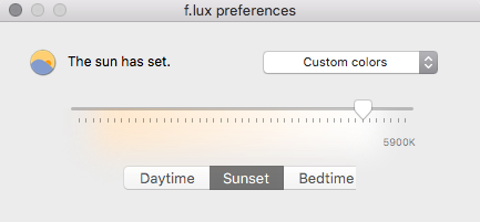 Example: Flux has settings to adjust colours, as well as set a bedtime and times Flux should be active.