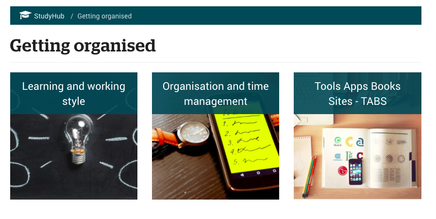 Example: StudyHub's resources on getting yourself academically organised.