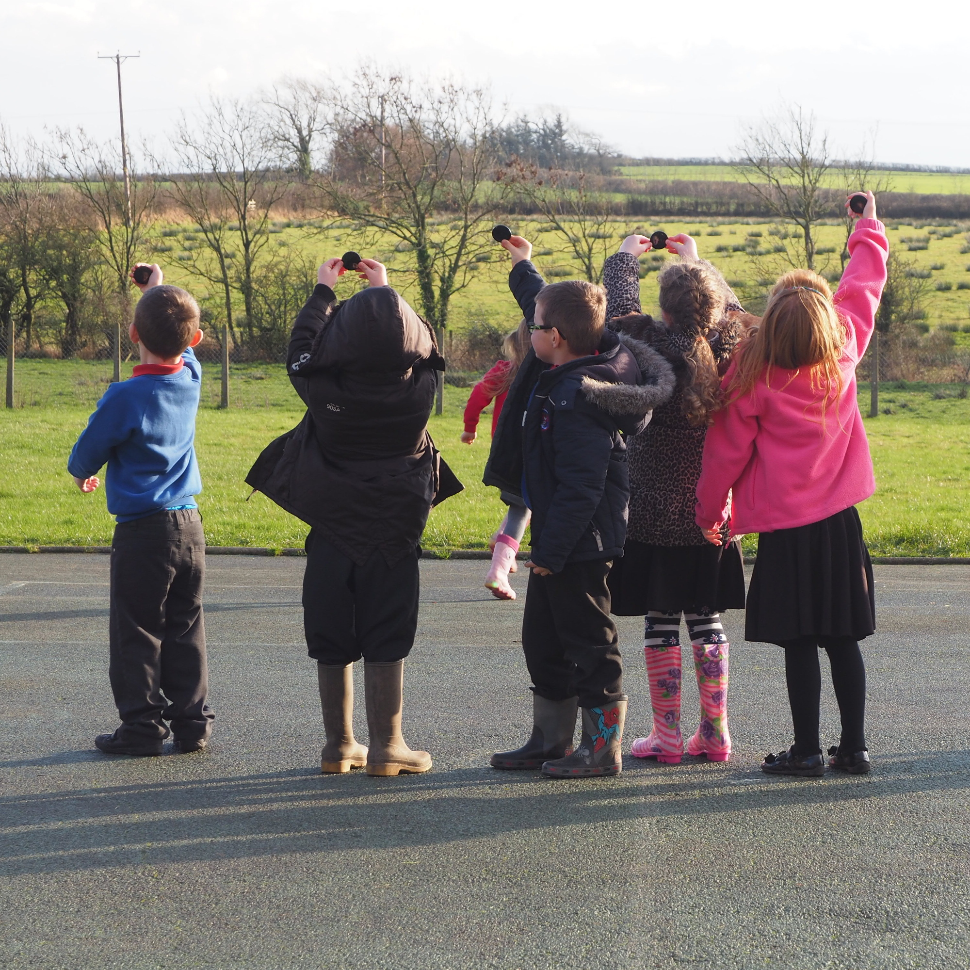 School children playing with Claude glass in Cumbria. Holly Corfield Carr, January 2017
