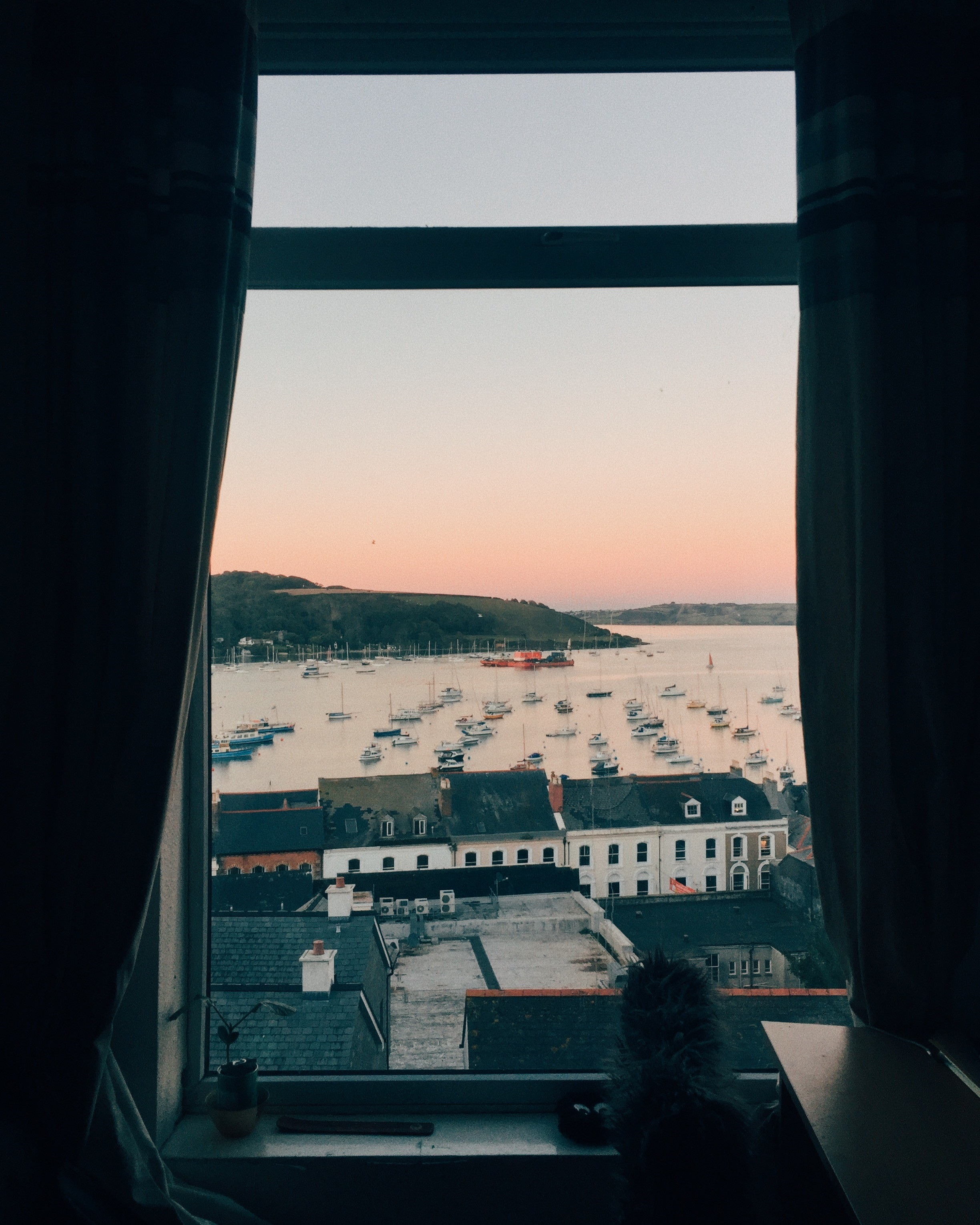 The view from Alfred's window in Falmouth inspired a series of poems, two of which he shared with us.