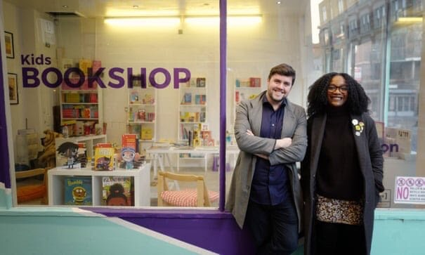 Co-founders of Knights Of, David Stevens and Aimée Felone outside their pop-up bookshop in 2018. [The Guardian/Sarah Lee]