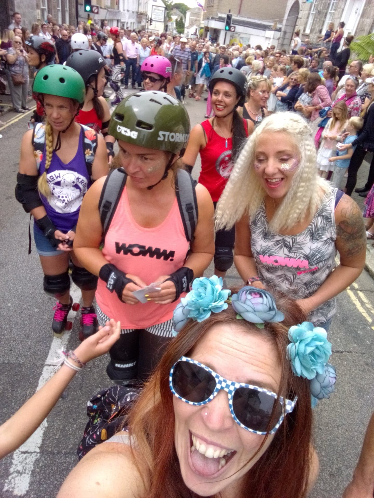 My roller derby team took part in the 1pm parade.