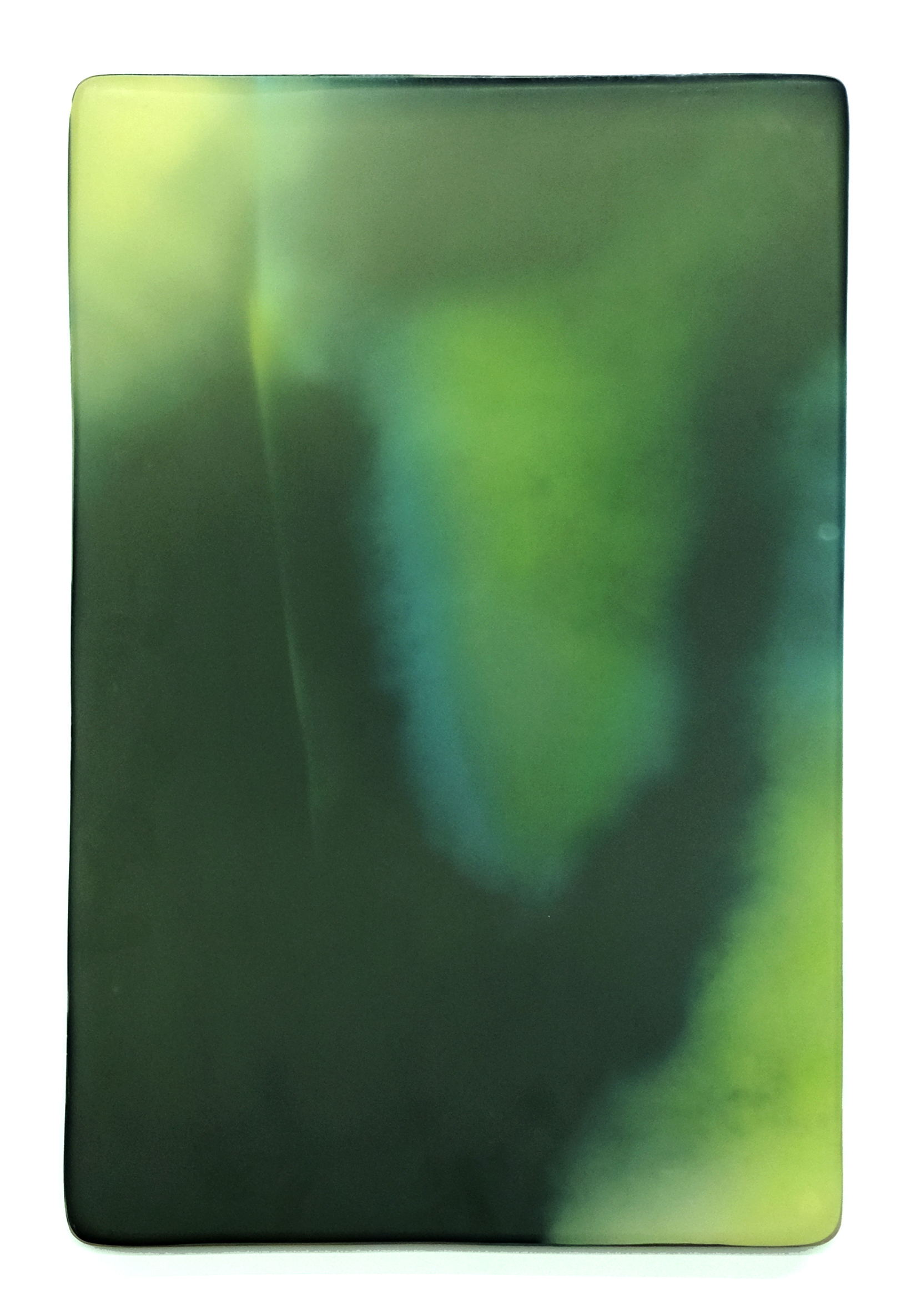 "MALAGINNIGHT   Phosphorescent pigment, high density foam, acrylic paint, UV  protected epoxy, vanish  20"" x 30"" 2015"