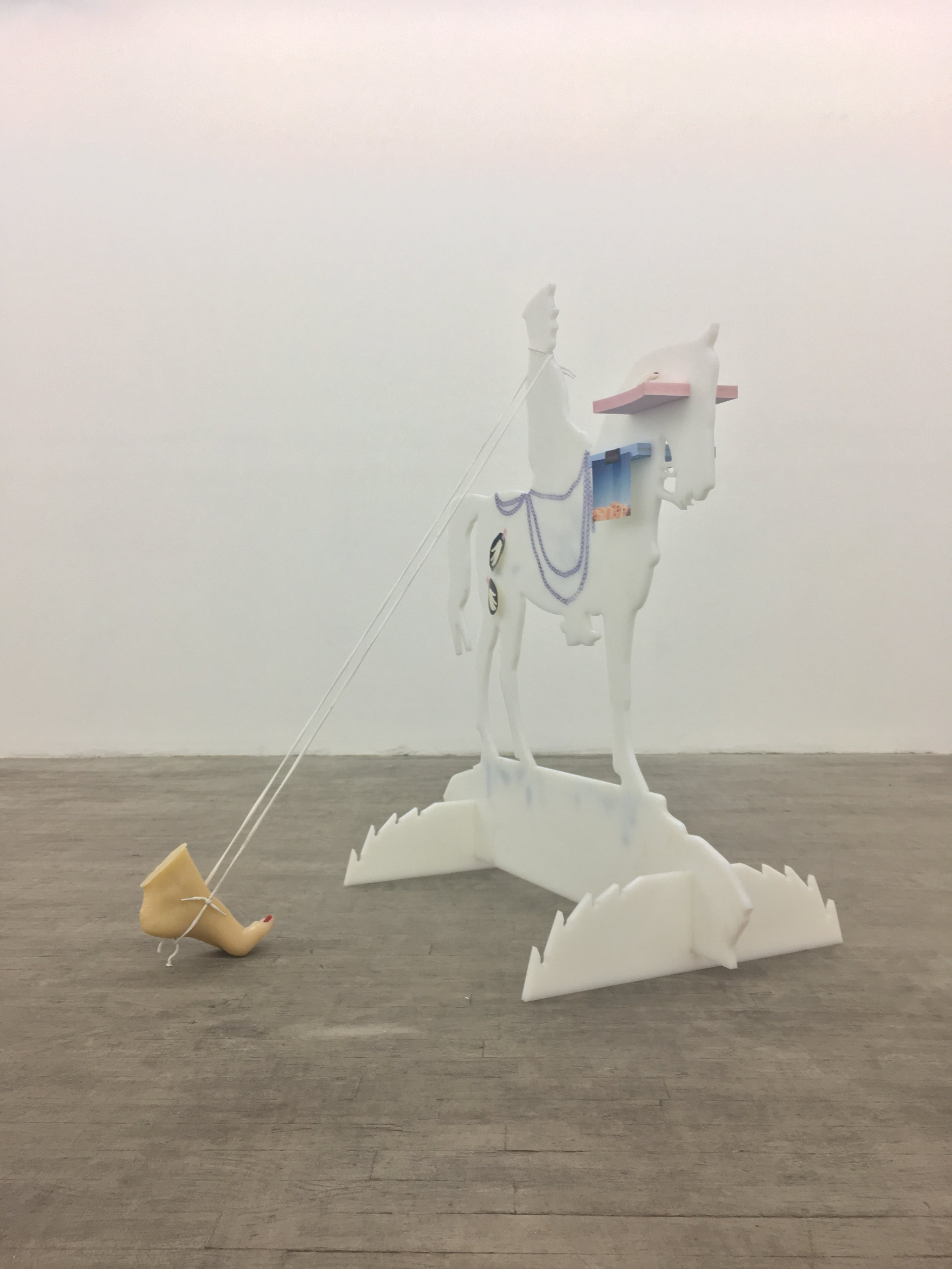 Rebekah Birkan  - Ataturks's Ruin or the Mystery of the Missing Teeth, 2016, plexiglass, shoe laces, glass teeth, fan blade, resin, photograph of santa fe, plaster, 47 x 47 x 47 inches