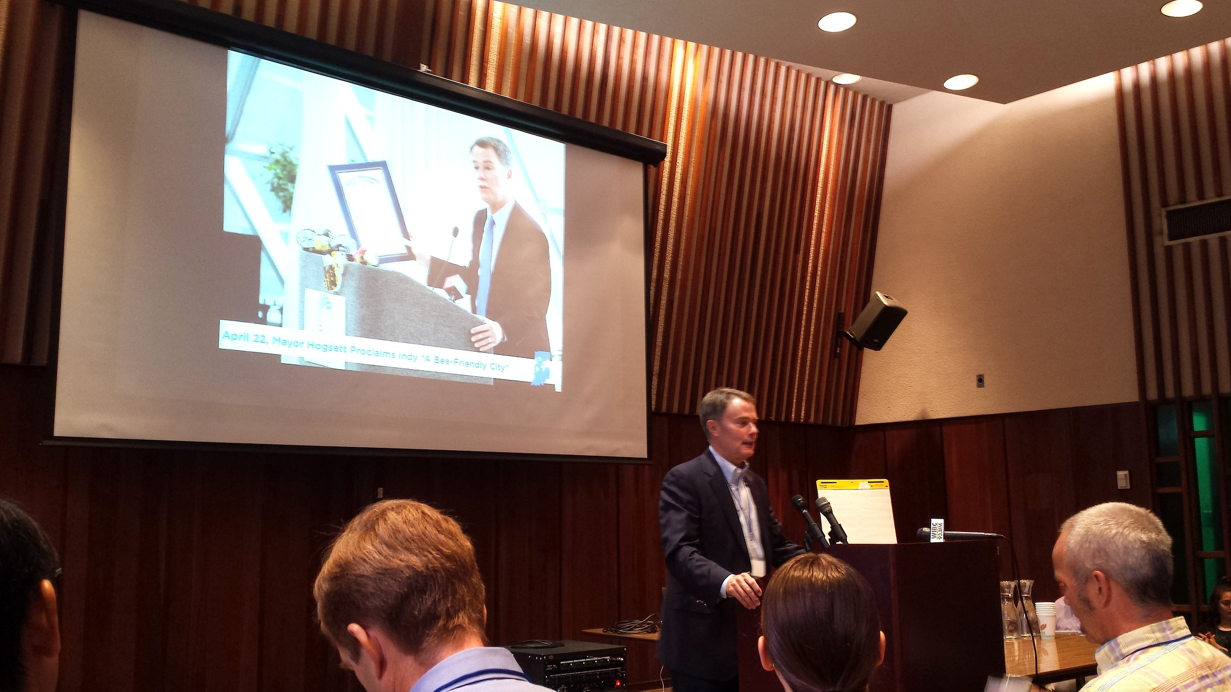 Indianapolis mayor Joe Hogsett addresses the Climate Leadership Summit.