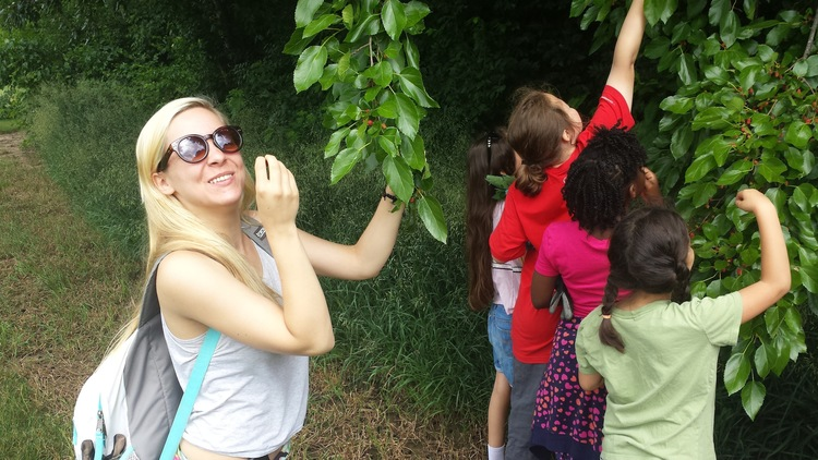 Author of this blog, Alexis, enjoys the feast of nature at our June daycamp at White Pine Wilderness Academy.