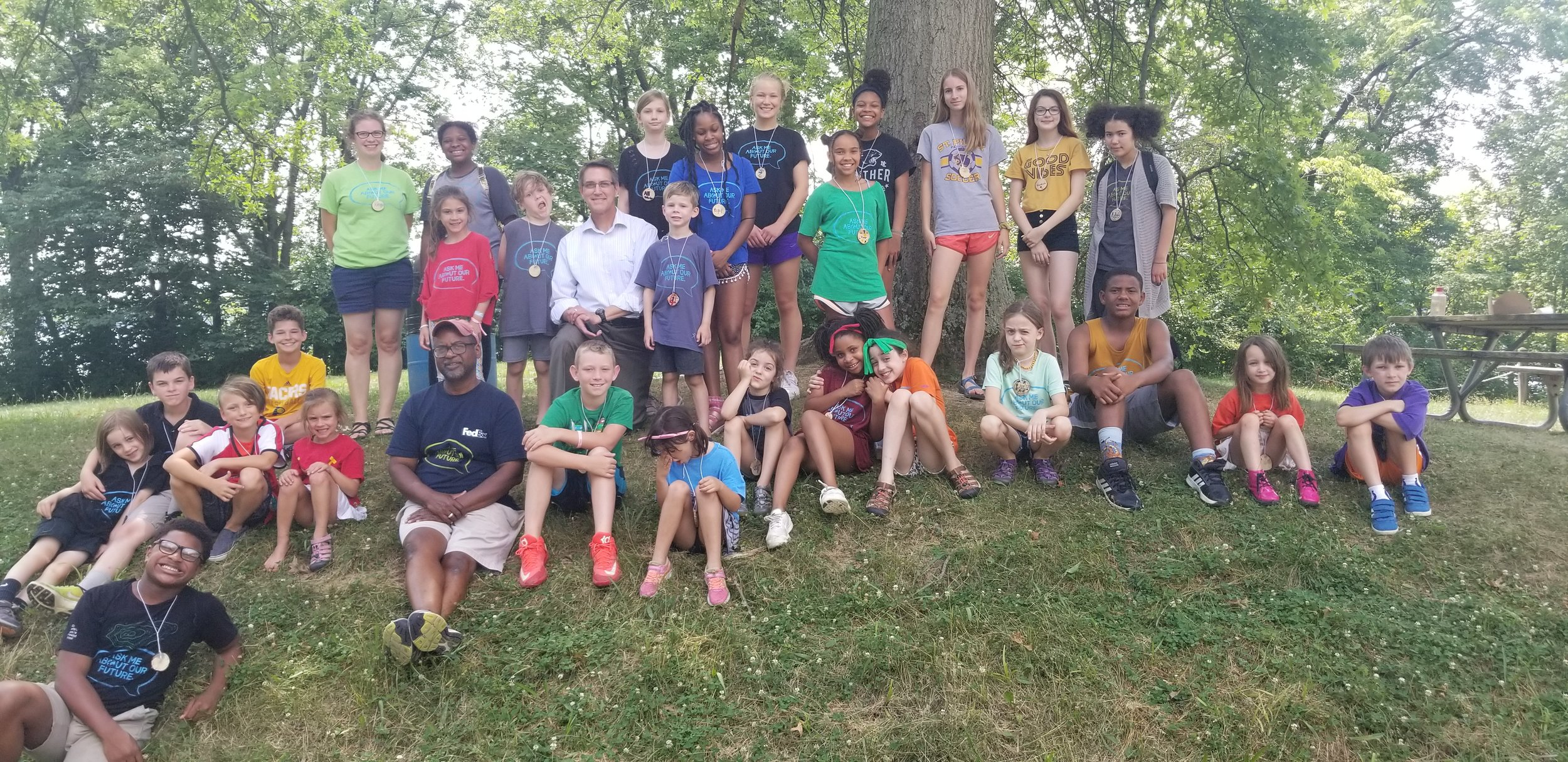 Just left of center, the man in the white shirt is Eric Halverson, from Kroger. We invited Eric in to talk to the campers about how Kroger is phasing out plastic bags altogether. Given the harm plastic bags do to the environment, we were grateful to have him explain how a corporation is becoming a better steward.