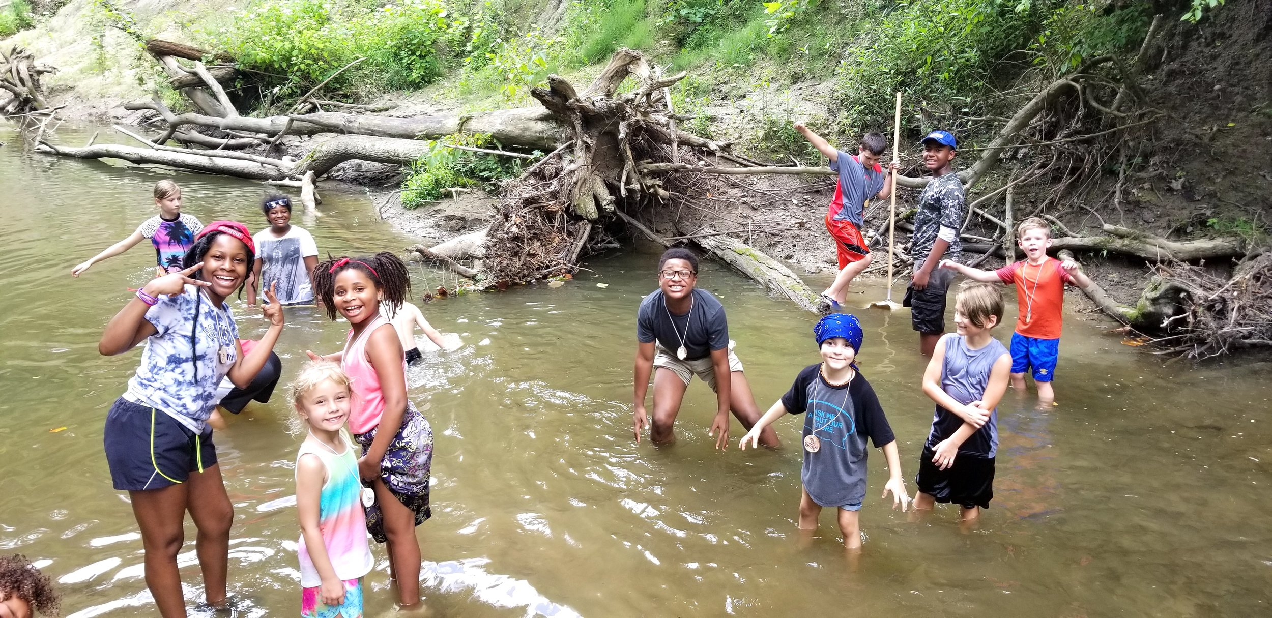 For the first time, we decided we'd simply spend a day in nature. Eagle Creek Park, where the PLC is located, has lots of that! So here are the Week One campers, enjoying a creek. It was a great day of getting wet and dirty, while appreciating the natural world.