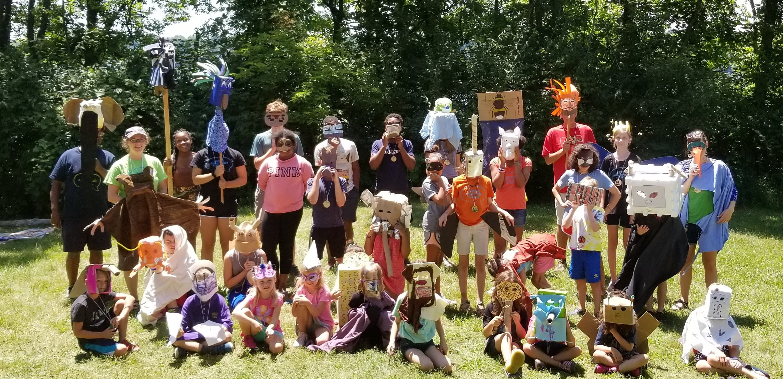"Both weeks we did a ceremony called Council of All Beings. This is an activity that engages the brain and the heart, by combining science, art and advocacy. Campers picked a favorite animals, researched the impact of human activity upon it, then spent time making a mask of that animal so that they could ""become"" it. In the ceremony, these animals describe who they are, what they do, and what they are afraid of. It is a powerful, even sacred, experience."