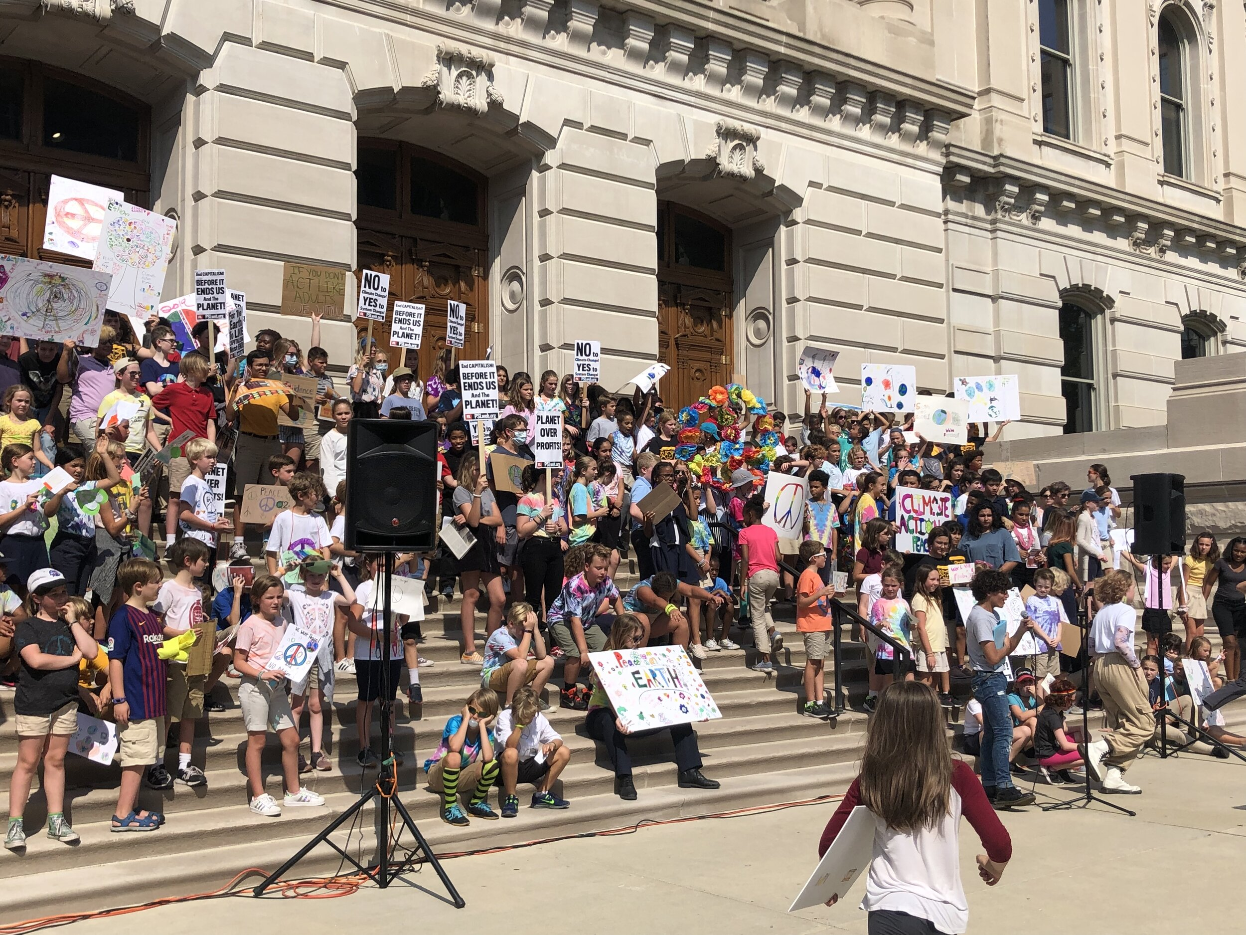 While Brebeuf's school based strike was happening, this was the scene downtown Indy at the Statehouse.