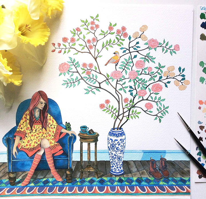 Watercolour painting of Girl Sitting in Chair with Chinoiserie
