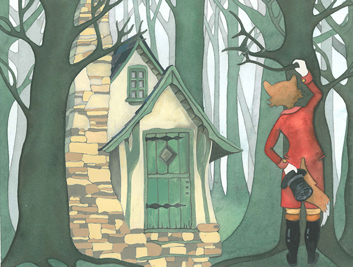 Anthropomorphic Fox in Regency Clothes Looking at Cottage in Woods