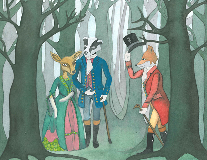 Anthropomorphic Woodland Animals in Regency Clothes Watercolour Painting
