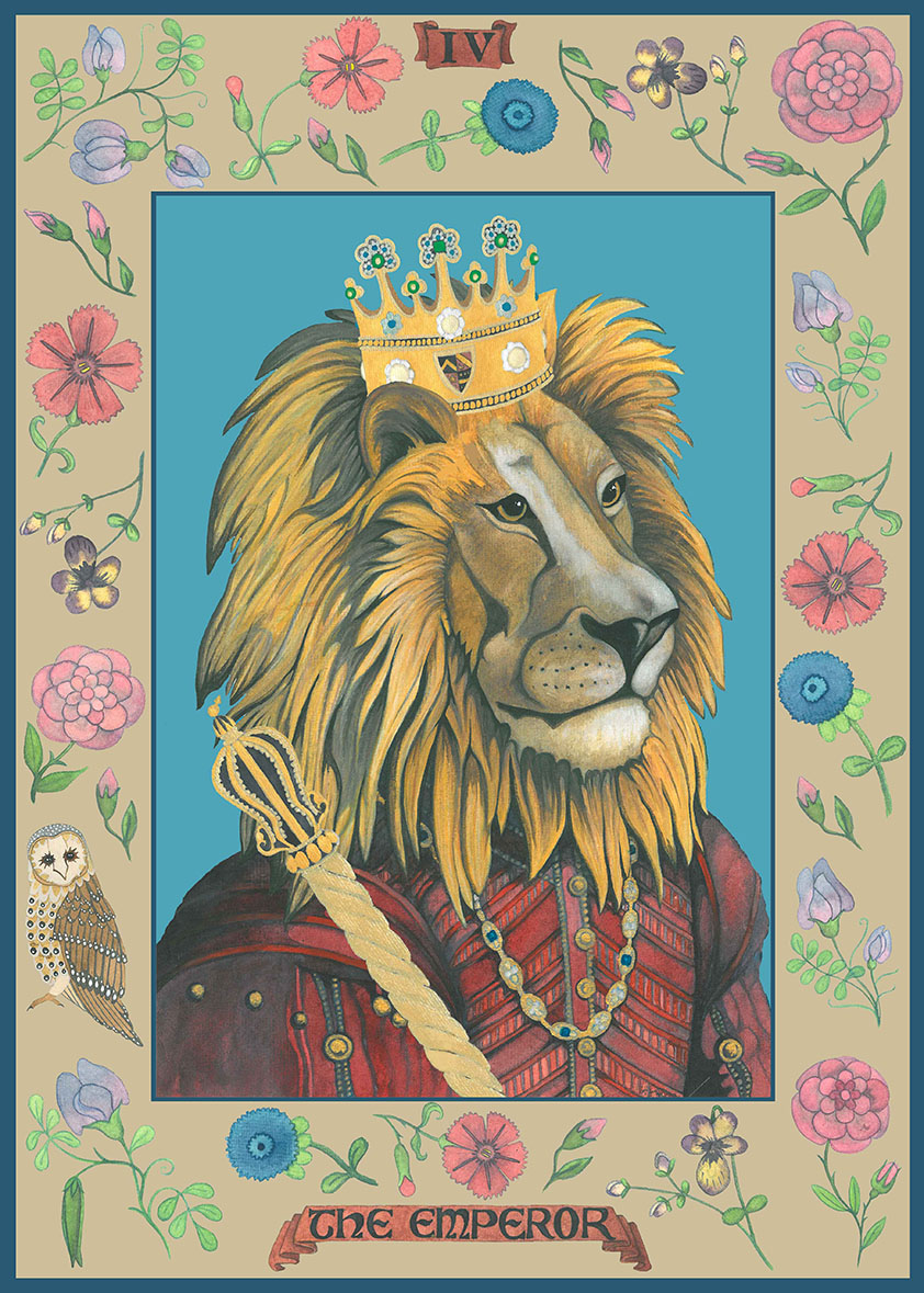 African Lion in Historical Clothing. Tarot Card Watercolour Painting of The Emperor