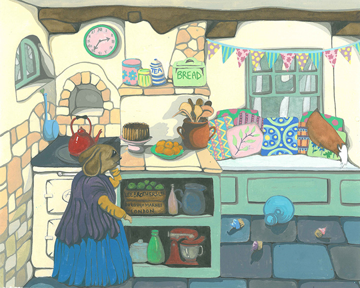 Anthropomorphic Mouse Dressed in Shabby Chic Cottage Kitchen Gouache & Watercolour Painting