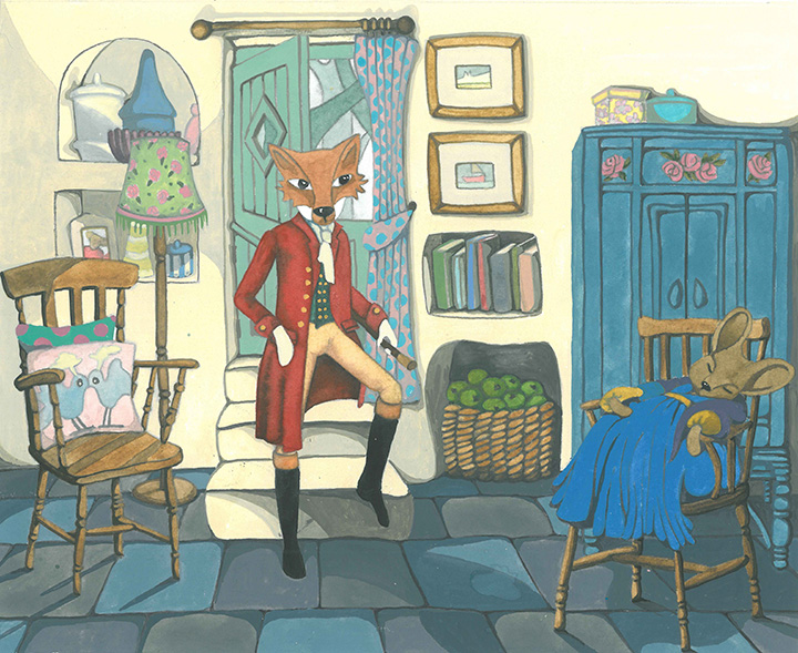 Anthropomorphic Woodland Animals dressed in Regency Clothes in Cottage Gouache & Watercolour Painting