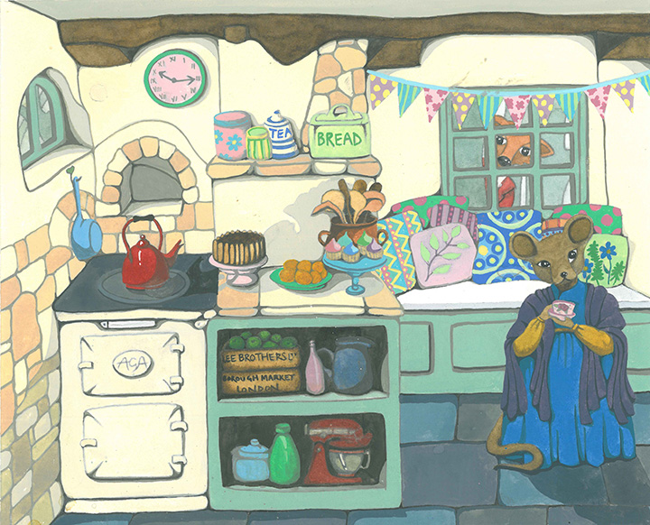 Anthropomorphic Mouse in Shabby Chic Cottage Kitchen with Aga Watercolour Painting