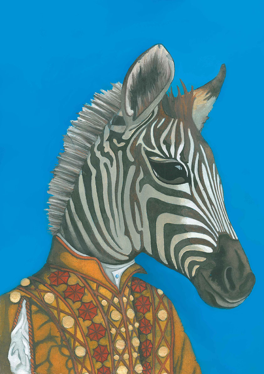 African Zebra Watercolour Painting in Tudor Historical Medieval Clothes