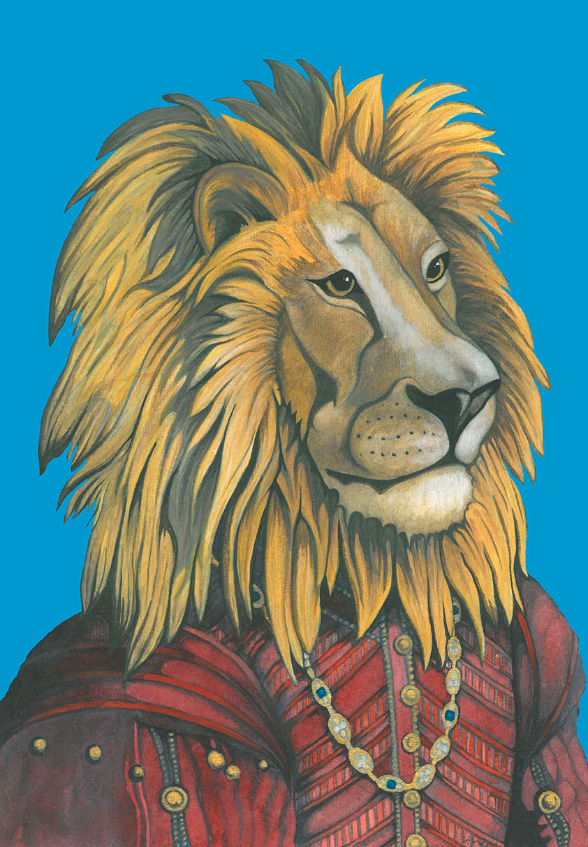 African Lion Watercolour Painting in Tudor Historical Medieval Clothes