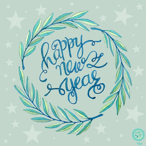 Happy New Year, Hand Lettering, Watercolour