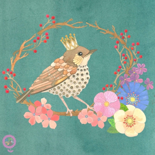 Thrush with Crown and Flowers Watercolour