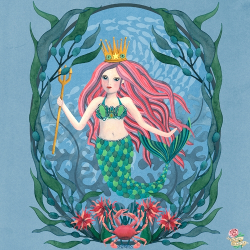 Mermaid Underwater Scene Watercolour Painting by Susie Batsford
