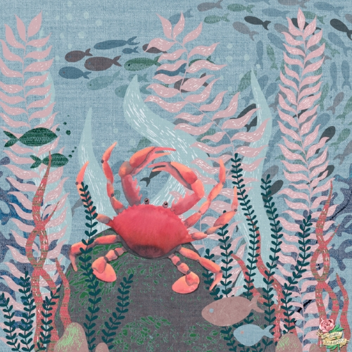 Crab Under the Sea Mixed Media Susie Batsford