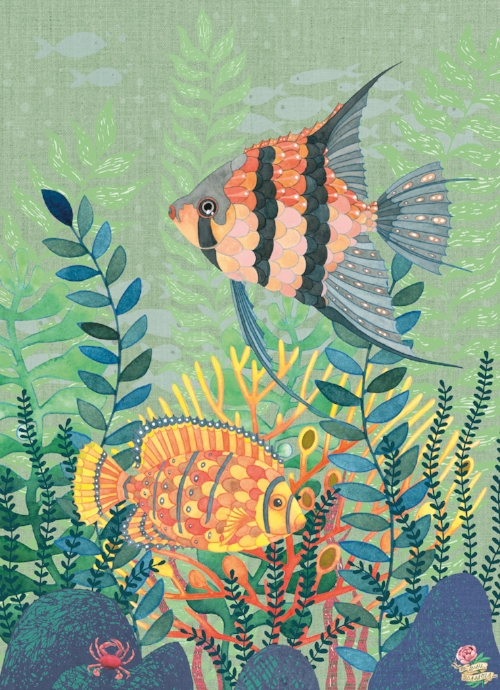 Tropical Fish Nautical Ocean Underwater Scene by Susie Batsford