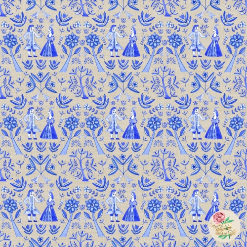 Garden Folk Pattern Design Natural Stone Blue by Susie Batsford