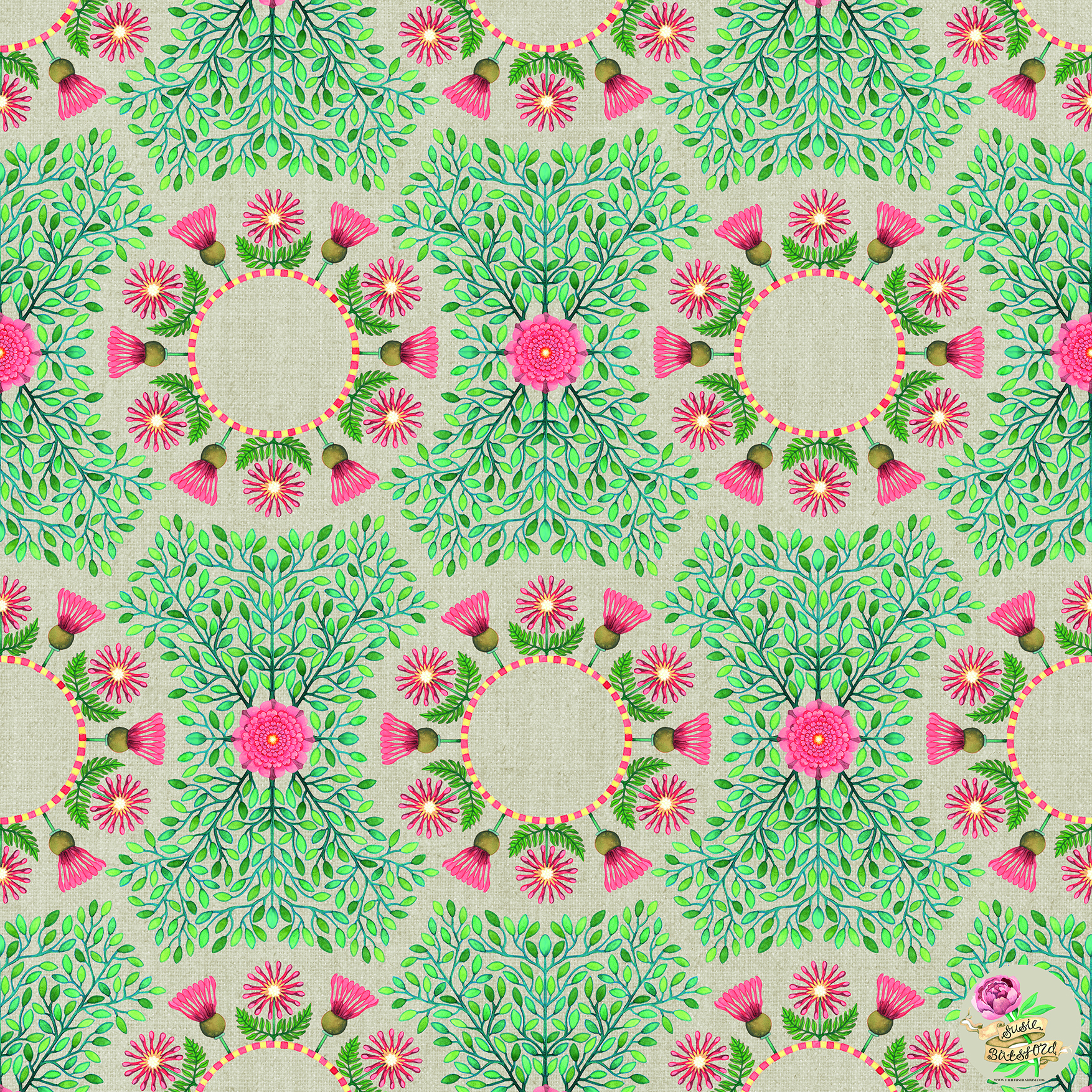 Hand Painted Daisy Design Pattern by Susie Batsford