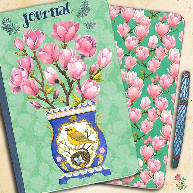 My final submission for the #makeartthatsells February #matsbootcamp assignment. 🌸  #journalillustration #matsbootcamp2019 #journaldesign  #journalart #notebookart #notebook #journal #artlicensing #magnolias #illustration_best #artjournal #springisintheair🌸 #matspinterest