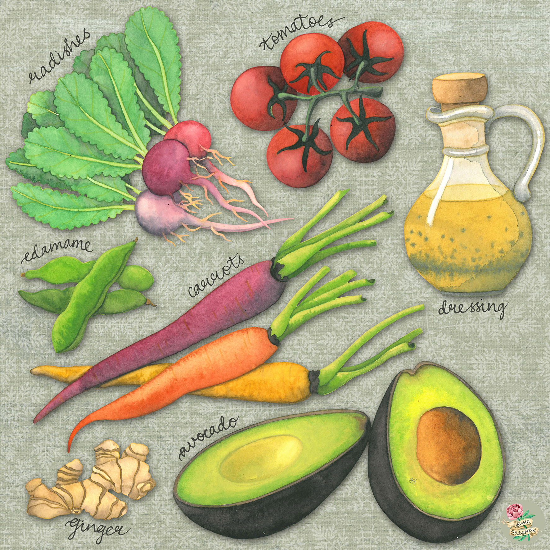 Eat The Rainbow Illustrated Food Watercolour Painting by Susie Batsford