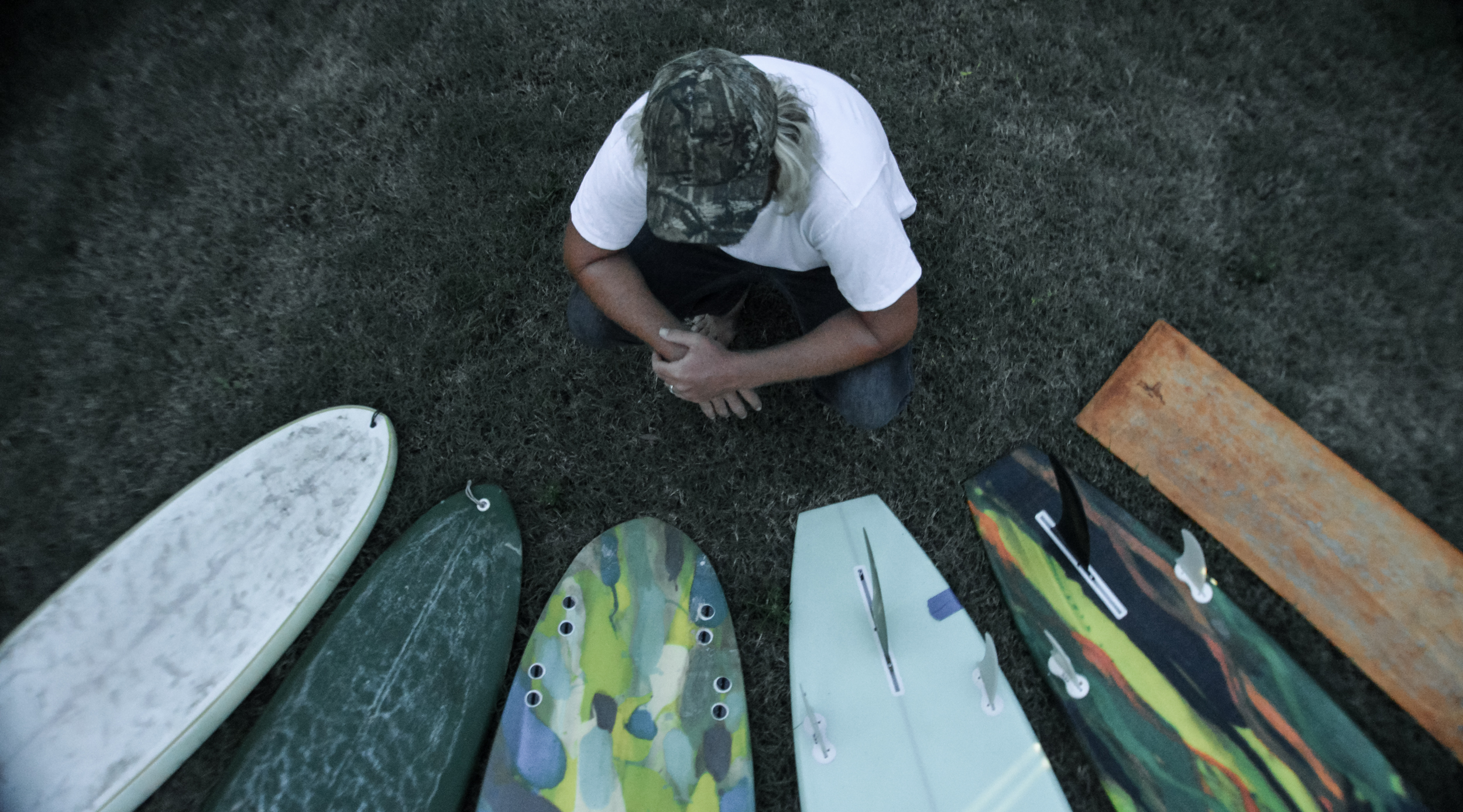 Brandon with his self-shaped and glassed boards, Cocoa beach 2015  Photo: Siren Williams