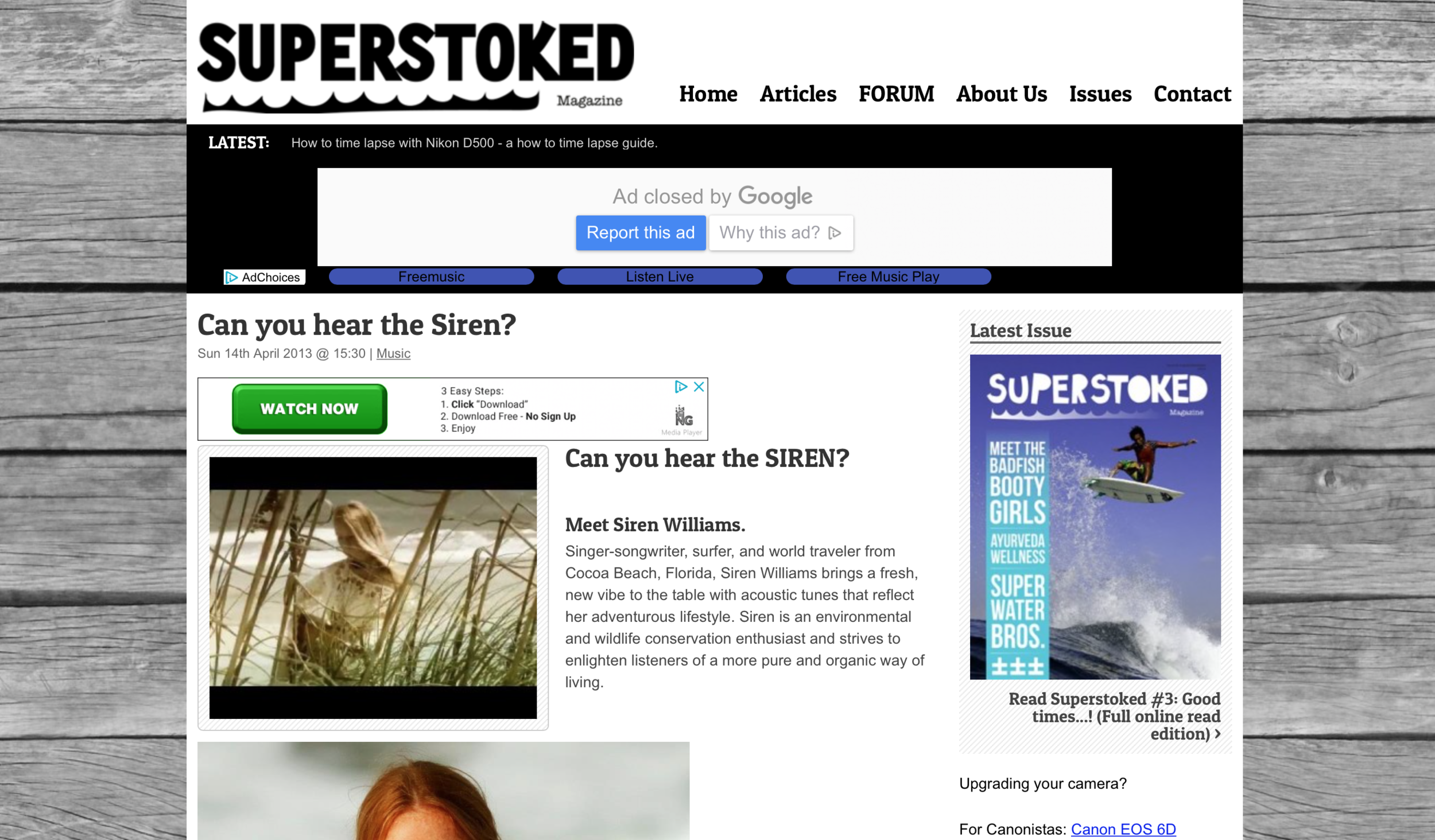 SUPERSTOKED SURF MAGAZINE Interview CAN YOU HEAR THE SIREN? Siren interviewed by Norway's SuperStoked Surf Magazine. (CLICK PHOTO TO VIEW ARTICLE)