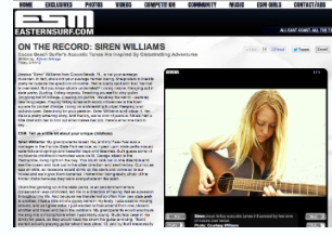 ON THE RECORD: SIREN WILLIAMS in EASTERN SURF MAGAZINE Siren Williams speaks to Eastern Surf Magazine about past and current lifestyle as a surfer, musician and traveler.