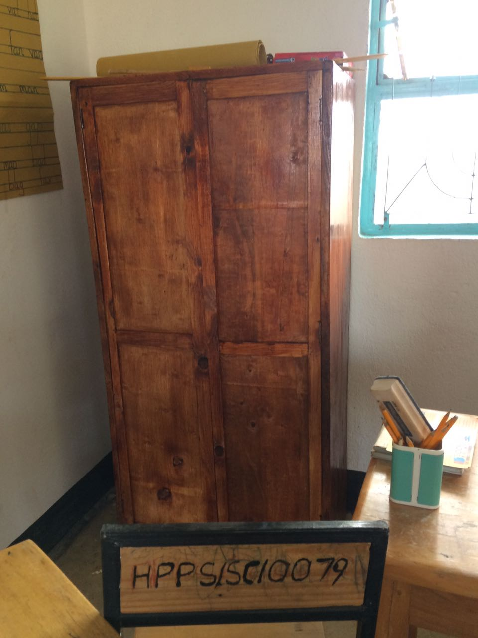 We released a grant to purchase teachers' desks, classroom supplies and lock closets (like the one pictured above) for each of the classrooms to protect all materials from theft.