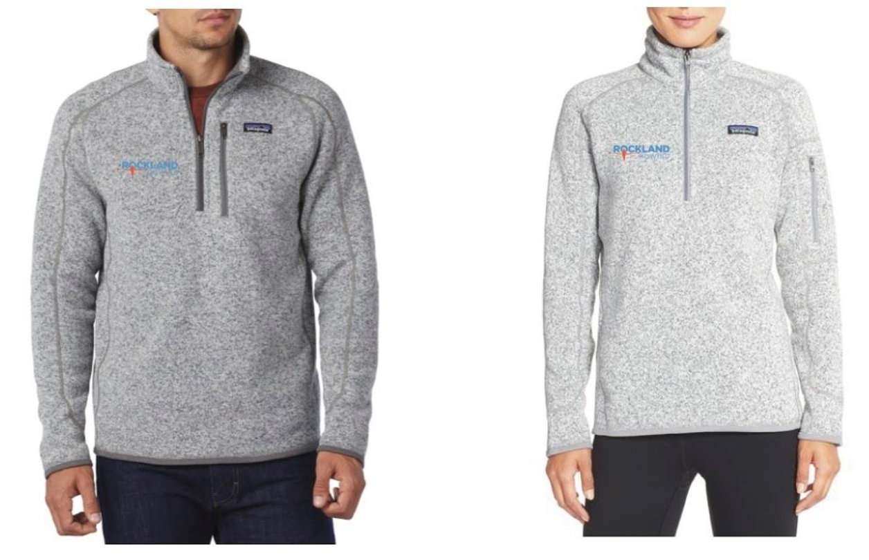 Patagonia Better Sweater, low bulk sweater made of knitted heathered polyester fleece in men's stonewashed and women's birch white - $85. Contact us to place an order by Sept 9.