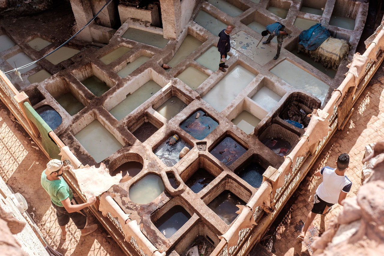 morocco fez leather tannery man handling leather